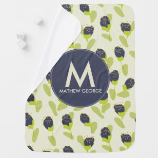 MODERN BLUE GREEN FLORAL PATTERN PERSONALIZED BABY BLANKET