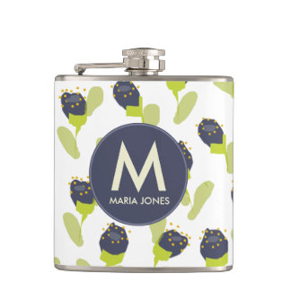 MODERN BLUE GREEN FLORAL PATTERN PERSONALIZED HIP FLASK