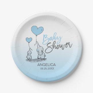 Modern Blue Grey Blue Elephant BOY Baby Shower Paper Plate