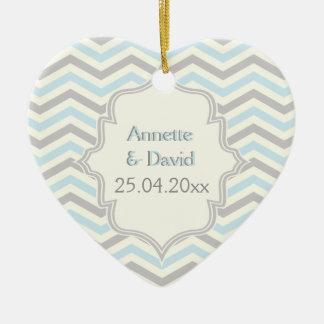 Modern blue, grey, ivory chevron pattern custom ceramic heart decoration