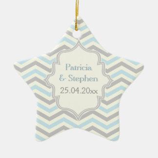 Modern blue, grey, ivory chevron pattern custom ceramic star decoration