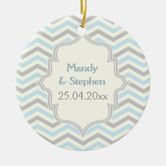 Modern blue, grey, ivory chevron pattern custom christmas tree ornaments