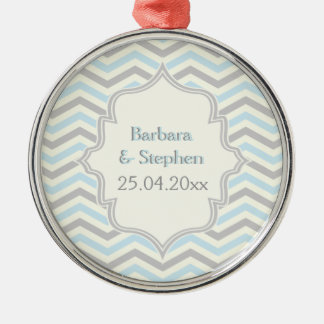 Modern blue, grey, ivory chevron pattern custom Silver-Colored round decoration
