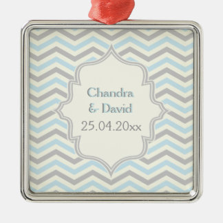 Modern blue, grey, ivory chevron pattern custom Silver-Colored square decoration