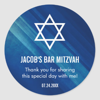 Modern Blue Grunge Bar Mitzvah Classic Round Sticker