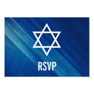 Modern Blue Grunge Bar Mitzvah RSVP Card