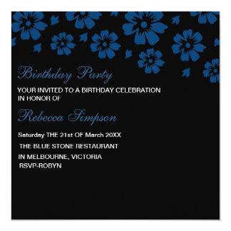 Modern Blue Hibiscus Flower Birthday Invitation
