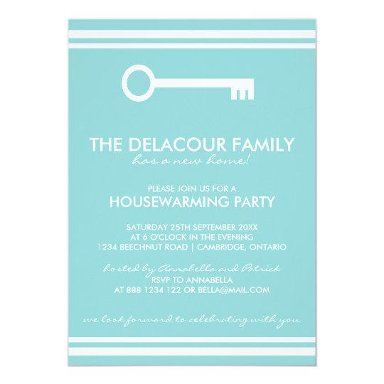Modern Blue Housewarming Party Invitation
