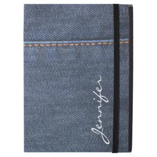 "Modern blue Jeans denim look monogram name iPad Pro 12.9"" Case"
