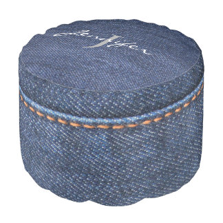 Modern Blue Jeans denim pattern monogram name Pouf