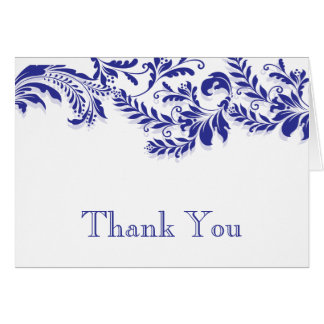 Modern Blue Leaf Flourish Thank You Note Card