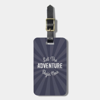 Modern Blue Let The Adventure Begin Now Starburst Luggage Tag