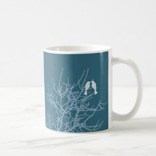 Modern Blue LoveBirds Tree WeddingFavor Coffee Mug