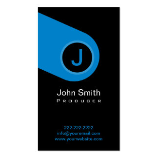 Modern Blue Monogram Producer Business Card