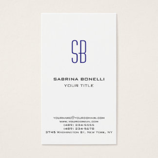 Modern Blue Monogram White Cute Business Card