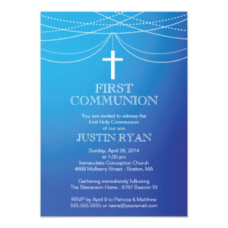 Modern Blue Ombre Garland Cross Boy Communion 5x7 Paper Invitation Card