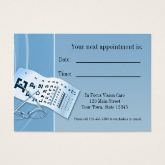 Modern Blue Optometrist Appointment Card