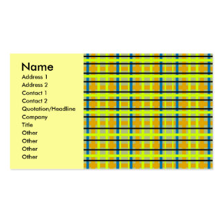 Modern blue orange and yellow plaid business card