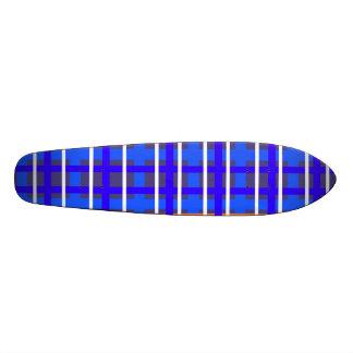 Modern blue orange plaid skateboard deck
