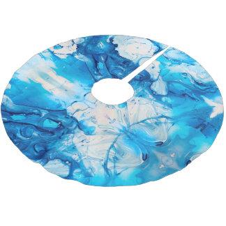 Modern Blue Pattern Swirl Christmas Holiday Brushed Polyester Tree Skirt