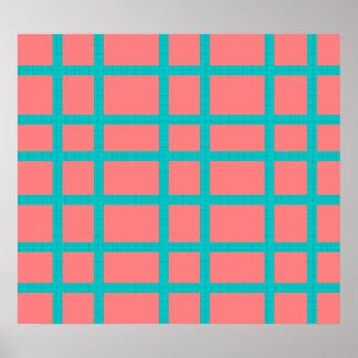 Modern blue patterned grid design poster