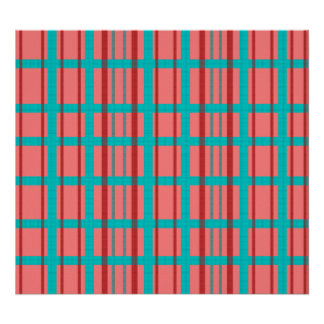Modern blue patterned grid with red stripes poster