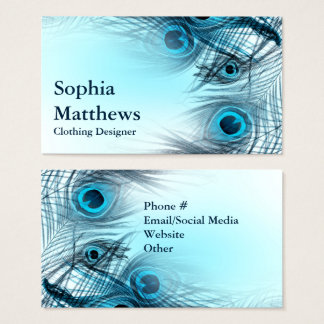 Modern Blue Peacock Feathers Business Card