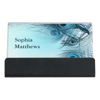 Modern Blue Peacock Feathers Desk Business Card Holder