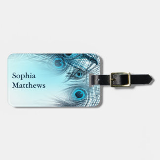 Modern Blue Peacock Feathers Luggage Tag