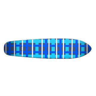 Modern blue pink plaid skate board