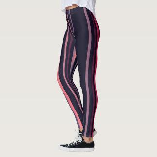 Modern Blue Pink Stripes Vitaleg Leggings