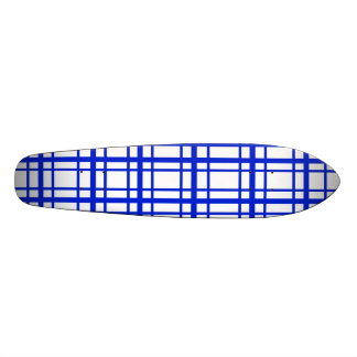 Modern blue plaid on white background skateboard decks