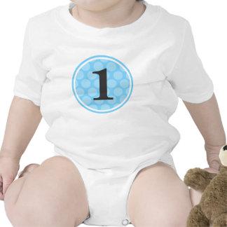 Modern Blue Polka Dot First Birthday Boy Number 1 Tee Shirt