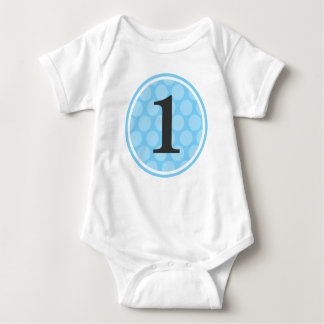 Modern Blue Polka Dot First Birthday Boy Number 1 Tshirts