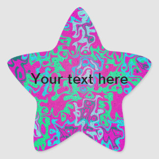 Modern blue psychedelic on pink background stickers