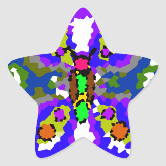 Modern blue purple and gray crystallized butterfly star sticker