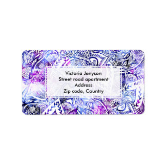 Modern blue purple hand drawn floral bohemian address label