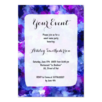 Modern blue purple watercolor brushstrokes card