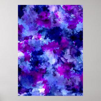 Modern blue purple watercolor brushstrokes poster