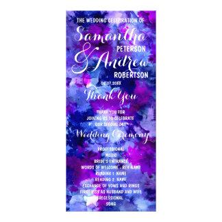 Modern blue purple watercolor Wedding Program Rack Card