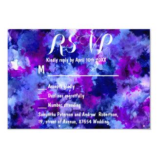 Modern blue purple watercolor wedding RSVP 9 Cm X 13 Cm Invitation Card