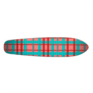 Modern blue red and pink plaid skateboards