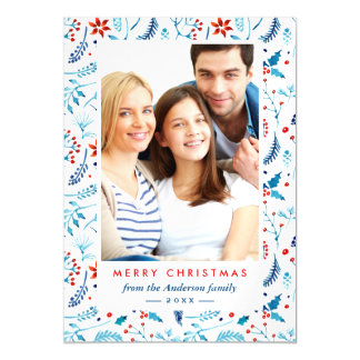 Modern Blue Red Berries Pattern Christmas Photo Magnetic Invitations