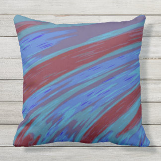 Modern Blue Red Color Abstract Design Outdoor Cushion