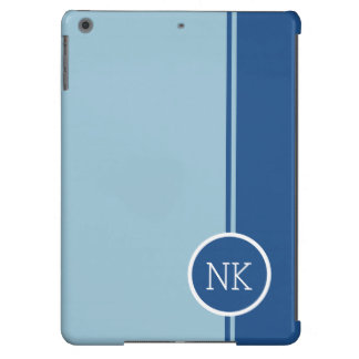 Modern blue round circle Monogram iPad Air Cover