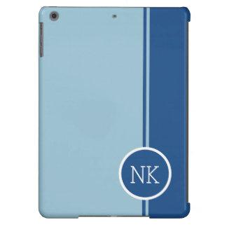 Modern blue round circle Monogram iPad Air Cover