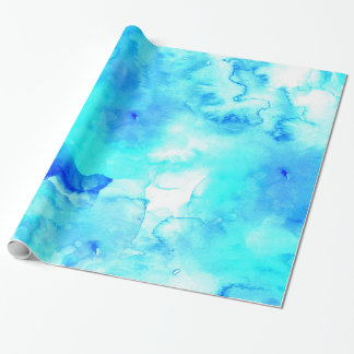 Modern blue sea hand painted watercolor