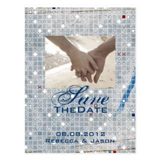 modern blue silver winter wedding save the date postcard
