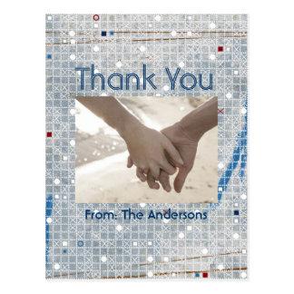 modern blue silver winter wedding thank you postcard