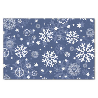 Modern Blue Snowflake Christmas Tissue Paper
